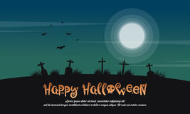 Happy Halloween landscape with grave Royalty Free Stock Photography