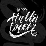 Happy Halloween lettering Calligraphy Brush Text Holiday Vector Sticker Chalkboard stock illustration