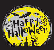 Happy Halloween lettering coposition with cemetery and bats silh Royalty Free Stock Images