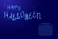 Happy Halloween lettering, holiday calligraphy with luminescence stars for banner, poster, greeting card party invitation of vect Stock Photo