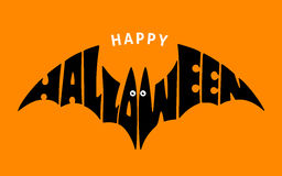 Happy Halloween. Lettering in silhouette bat Royalty Free Stock Images
