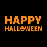 Happy Halloween Lettering text banner with smiling orange pumpkin silhouette. Greeting card. Flat design. Black baby background. Vector illustration Royalty Free Stock Images