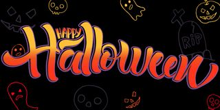 Happy Halloween lettering vector illustration. royalty free illustration