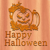 Happy Halloween Made with Wood Stock Photo