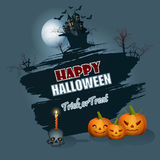 Happy Halloween message; background with  moonlight scene. Holidays, template with scary skull carry a candle on top, pumpkins and  moonlight landscape on Stock Photos