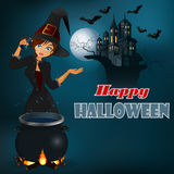 Happy Halloween message, graphic background with witch and moonlight scene Stock Images
