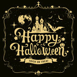 Happy Halloween message silhouette design Royalty Free Stock Photography