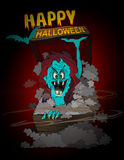 Happy Halloween monster. Cartoon illustration of a happy Halloween background with a bat and scary blue vampire monster Stock Image