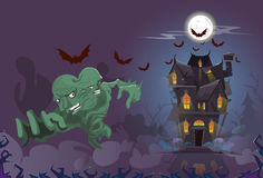 Happy Halloween Monster Night House Party Invitation Card Stock Image