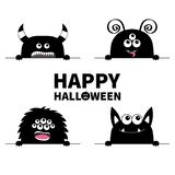Happy Halloween. Monster scary face head icon set. Hands paw holding line. Horns fang teeth. Cute cartoon boo spooky character. Bl vector illustration