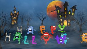 Happy Halloween Monster Style 4K Loop