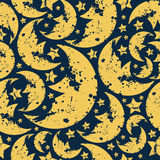 Happy halloween  moon seamless pattern. In retro style. Yellow silhouette on a  dark blue background Royalty Free Stock Images
