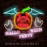 Happy Halloween neon sign with funny ghost makes it quick and easy to customize your holiday projects. Stock Photos