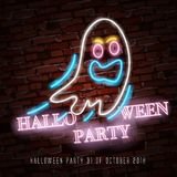 Happy Halloween neon sign with funny ghost makes it quick and easy to customize your holiday projects. Royalty Free Stock Photo