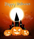 Happy Halloween night background with dark castle and pumpkins, Vector illustration. Happy Halloween night background with dark castle and pumpkins, Vector royalty free illustration