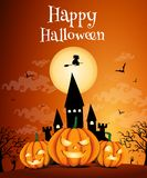 Happy Halloween night background with dark castle and pumpkins, Vector illustration. Happy Halloween night background with dark castle and pumpkins, Vector vector illustration