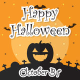 Happy Halloween Night Background with Moon, Bat, Pumpkin and Gra Royalty Free Stock Photography
