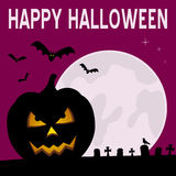 Happy Halloween Night Card. With the moon, bats flying, a spooky graveyard and a pumpkin. Eps file available Royalty Free Stock Photos
