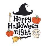 Happy Halloween night. Halloween theme. Handdrawn lettering phrase. Design element for Halloween. Vector handwritten Stock Image