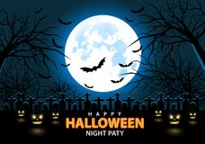 Happy Halloween night party design holiday festival background vector. Royalty Free Stock Photos