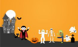 Happy halloween night party. Set of characters in cartoon paper style. With pumpkin, ghost, dracula, skeleton, mummy, zombie, black cat, bat and castle, Vector royalty free illustration