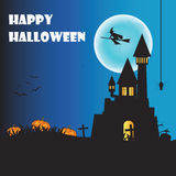 Happy Halloween night with pumpkins and hanging spider on orange Royalty Free Stock Images