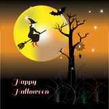 Happy Halloween night wiht happy witch Stock Image