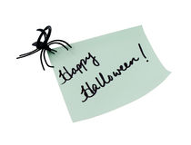 Happy halloween note. Happy Halloween written on note with spider; isolated on white background Royalty Free Stock Photography