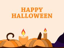 Happy Halloween October 31st. Holiday greeting card with pumpkin and candles. Festive background. Vector royalty free illustration