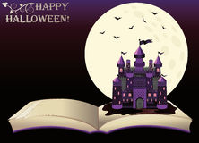 Happy Halloween. Old book with witch castle Stock Photography