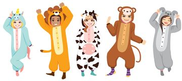 Happy Halloween Onesie Costumes Collection. Happy five people wearing animal onesie costume on Halloween pajama party celebration stock illustration