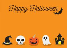 Happy Halloween and Orange Background Vector Illustration Stock Photography