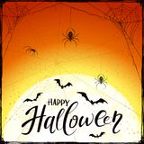 Happy Halloween on orange grunge background with spiders and bat Stock Photography