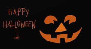 Happy Halloween Orange Pumpkin and Spider. Happy Halloween card with an orange pumpkin face and a small spider royalty free illustration