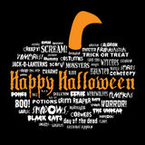 Happy halloween and other scary words. In the shape of a pumpkin Royalty Free Stock Photography