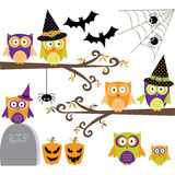 Happy Halloween Owls collections Royalty Free Stock Images