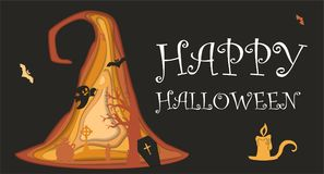 Happy halloween paper cut style. Concept of cemetery. Vector illustration. Royalty Free Stock Images