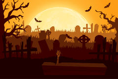 Happy halloween paper cut style. Concept of cemetery. Vector illustration Stock Image