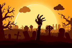 Happy halloween paper cut style. Concept of cemetery. Vector illustration Royalty Free Stock Photos