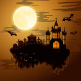 Happy halloween paper cut style. Concept of cemetery. Vector illustration Stock Photos