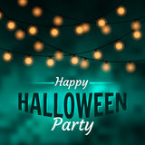 Happy Halloween Party Banner with ligt bulbs on dark background Stock Images