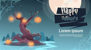Happy Halloween Party Banner Pumpkins Hanging On Tree Traditional Decoration Holiday Greeting Card. Flat Vector Illustration Stock Image
