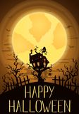Happy Halloween party banner with spooky castle Royalty Free Stock Image