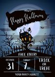 Happy Halloween party banner with spooky castle Royalty Free Stock Photo