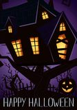 Happy Halloween party banner with spooky castle Stock Images