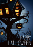 Happy Halloween party banner with spooky castle. On tree in mystic forest at night under full moon, vector illustration. Halloween background with haunted house Stock Photo