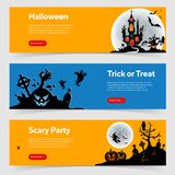 Happy Halloween Party Banners Vector Illustration