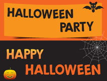 Happy Halloween and Party with bats pumpkin and web Poster Royalty Free Stock Photo