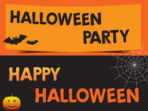 Happy Halloween and Party with bats pumpkin and web Poster Royalty Free Stock Photography