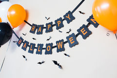 Happy halloween party black paper garland Royalty Free Stock Photos